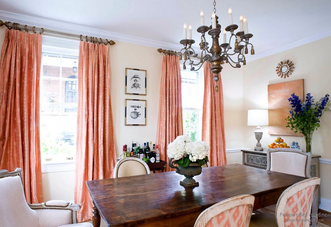 Peach Color Interior Design Ideas. Fruit Orchid at Home. Fresh light Classic atmosphere with high curtains