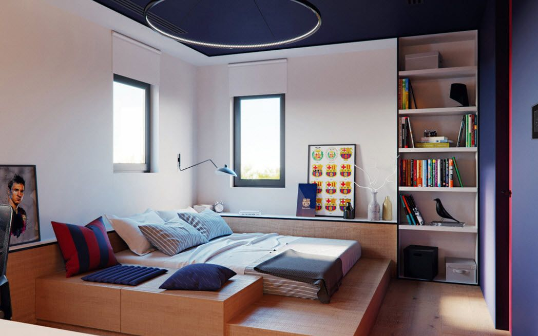 Blue suspended ceiling with white circle in the multifunctional modern bedroom with podium