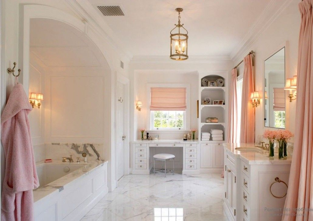 Peach Color Interior Design Ideas. Fruit Orchid at Home. Large bathroom and the adorning touch of accents