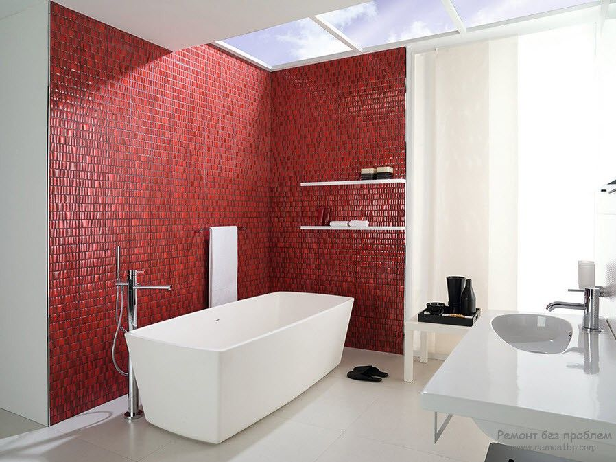 Red Color Interior Decoration. Versatility of Red Shades in hi-tech minimalistic bathroom with mosaic