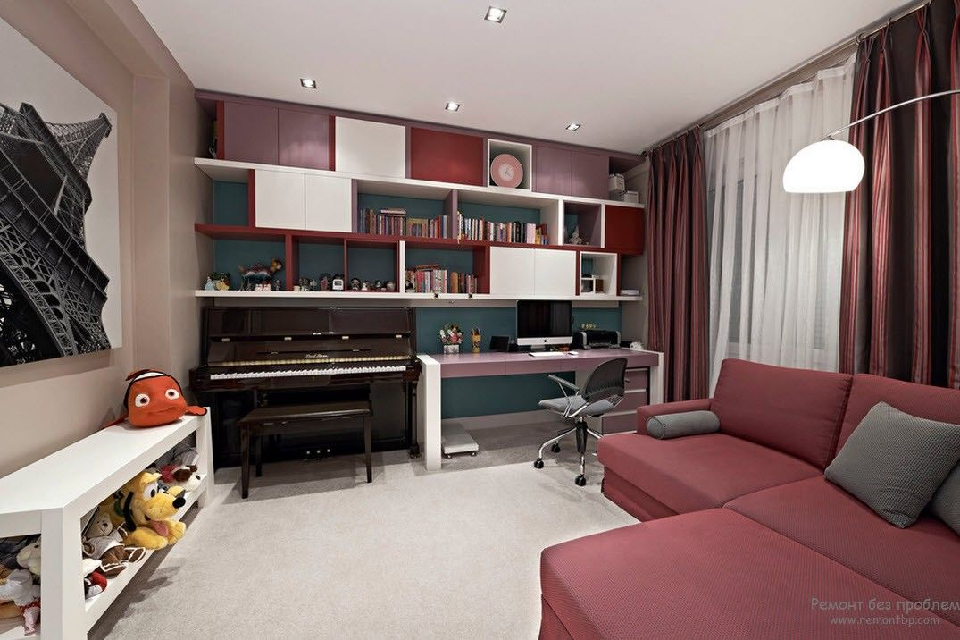 Pastel colored room with pale red furniture