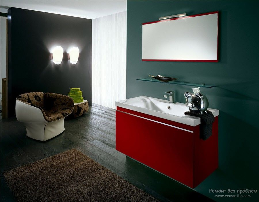 Red hovering bathroom in the open layout space of the large bathroom