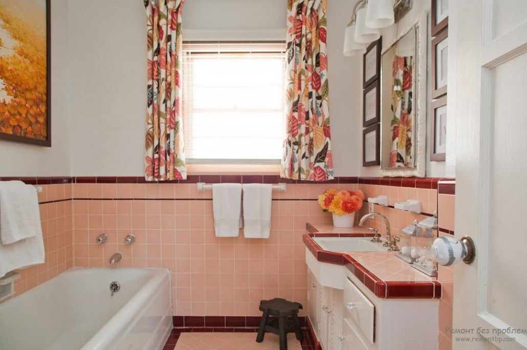 Peach Color Interior Design Ideas. Fruit Orchid at Home. Ceramic tile for the lower part of the bathroom