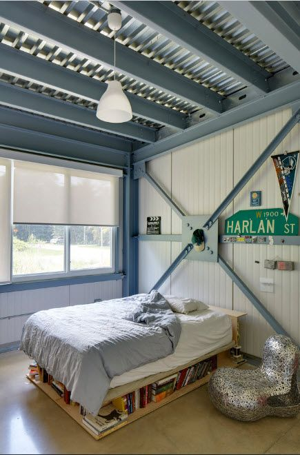 Unusual urban and classic mix of styles for the blue and white decorated bedroom
