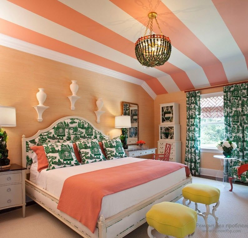 Peach Color Interior Design Ideas. Fruit Orchid at Home. Striped ceiling as if the part of bed linen