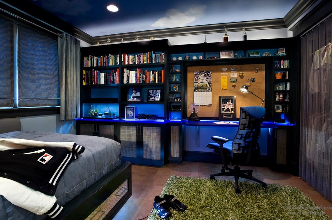 Modern Youth Interior Design. Photo Ideas. Blue LED lighting and black furniture for boy