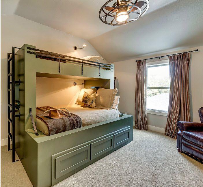 Podium bunk bed in dark olive color