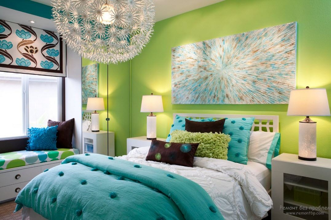 Picture decorated youth room with lime green painted walls and intimate lighting