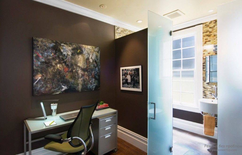 Home office in brown with matted glass partitions
