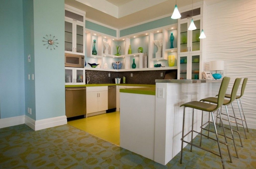 Classic kitchen design with mix of bright juicy colors