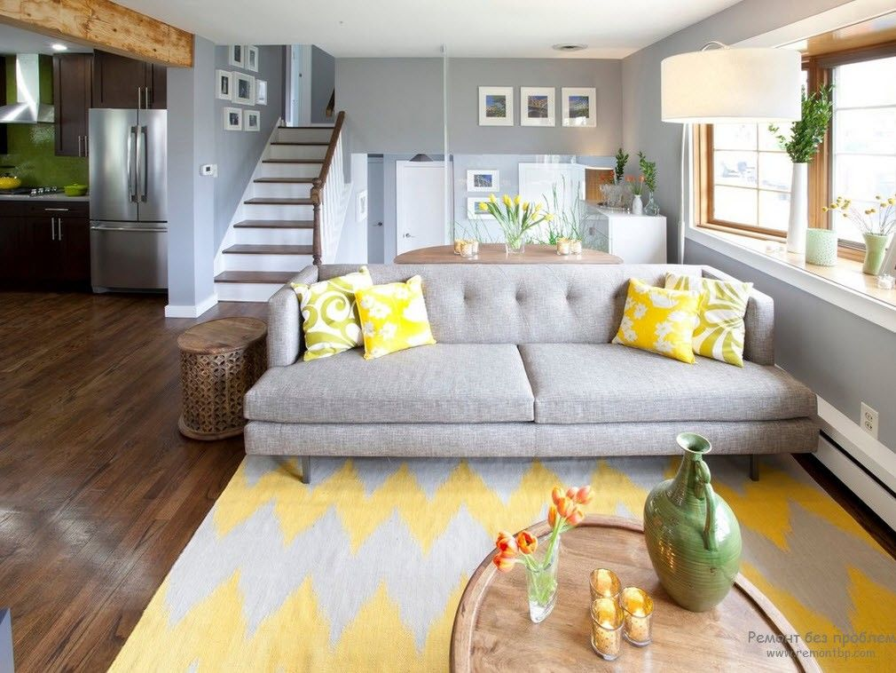 Gray sofa for the modern Casual style in the two-storey house
