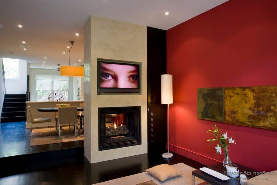 Contrasting red wall in the open layout apartment with the partition zoning dining zone from living room