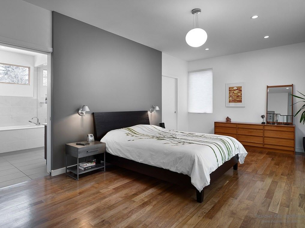 Gray Color Interior Decoration. Simple Elegance for Your Apartment. Zoning bed section wall