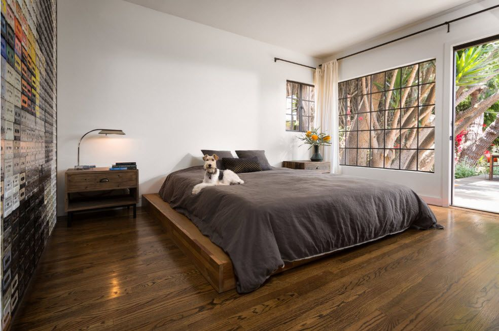 Podium Bed. Luxury or Functional Interior Element? Spacious bedroom in Modern style with large platform for the king size bed