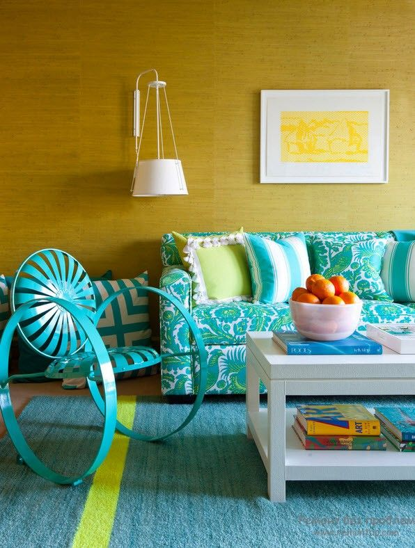 Turquoise Color Interior Decoration. Marine Theme for Your Home. Turquoise and yellow combination in the living with rocking chair