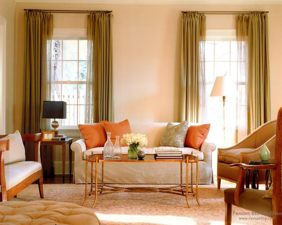 Olive curtains and peach touch in the Classic styled bedroom
