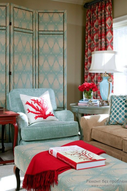 Turquoise Color Interior Decoration. Marine Theme for Your Home. Unusual blurred color for the living room image complement