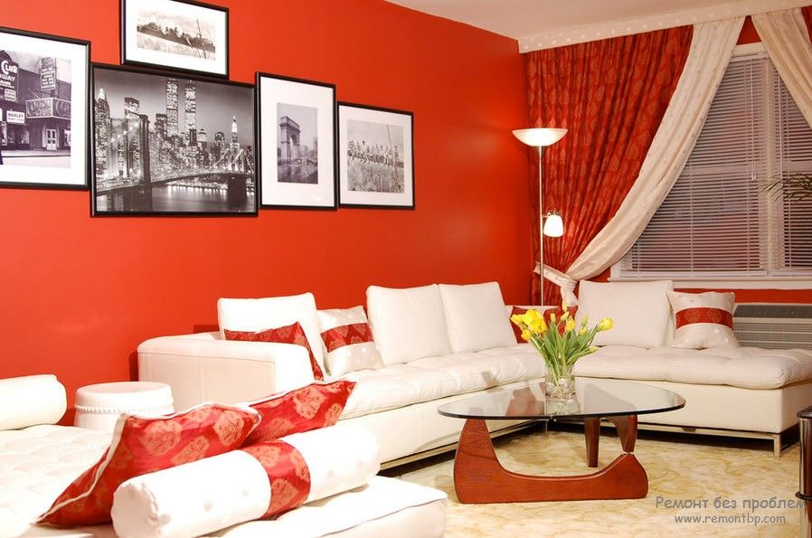 Red Color Interior Decoration. Versatility of Red Shades. Single color painted walls for the bold home owners