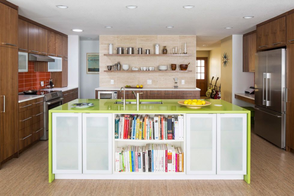 Refrigerator in Modern Kitchen Interior Design. Unusual idea for storage right in the island