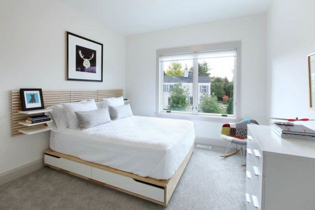 Modern sandwich podium bed in the light design of the bedroom