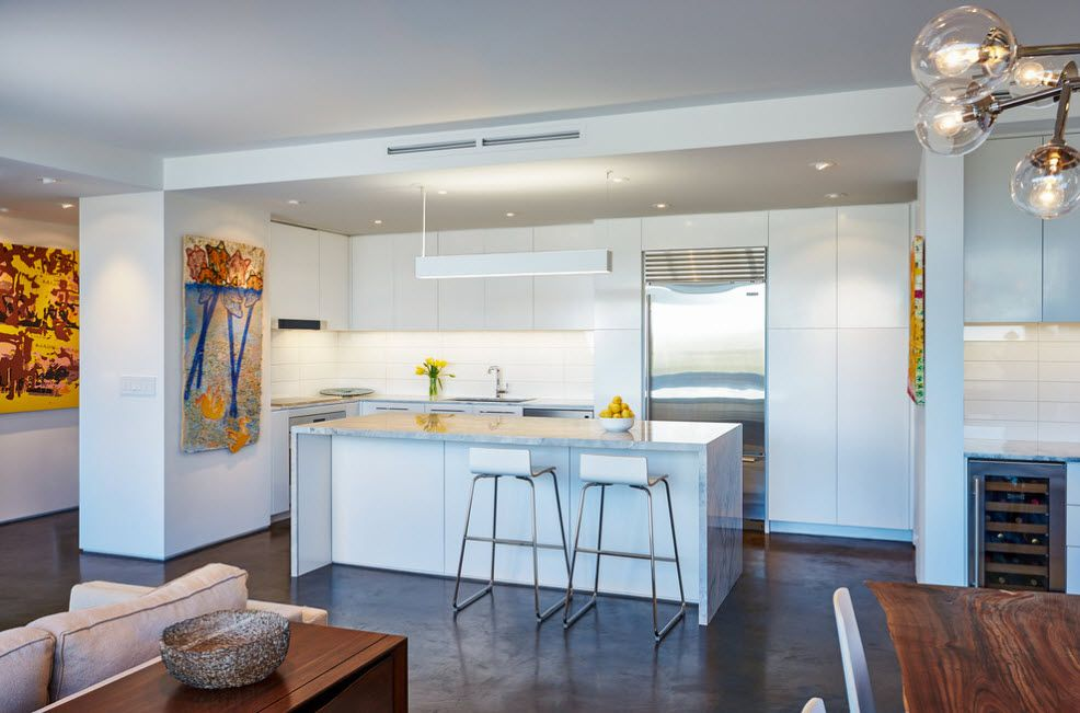 White glancing hi-tech interior with ideally smooth floor and sparkling refrigerator