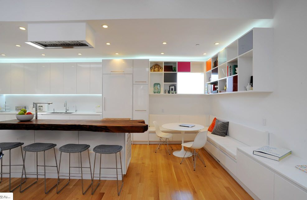 HI-tech styled kitchen with top LED backlight and smooth surfaces