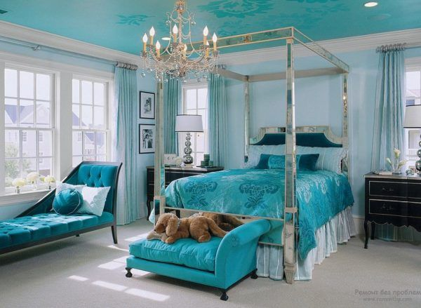Turquoise Color Interior Decoration. Marine Theme for Your Home. Solid color in every element of decor and furnishing
