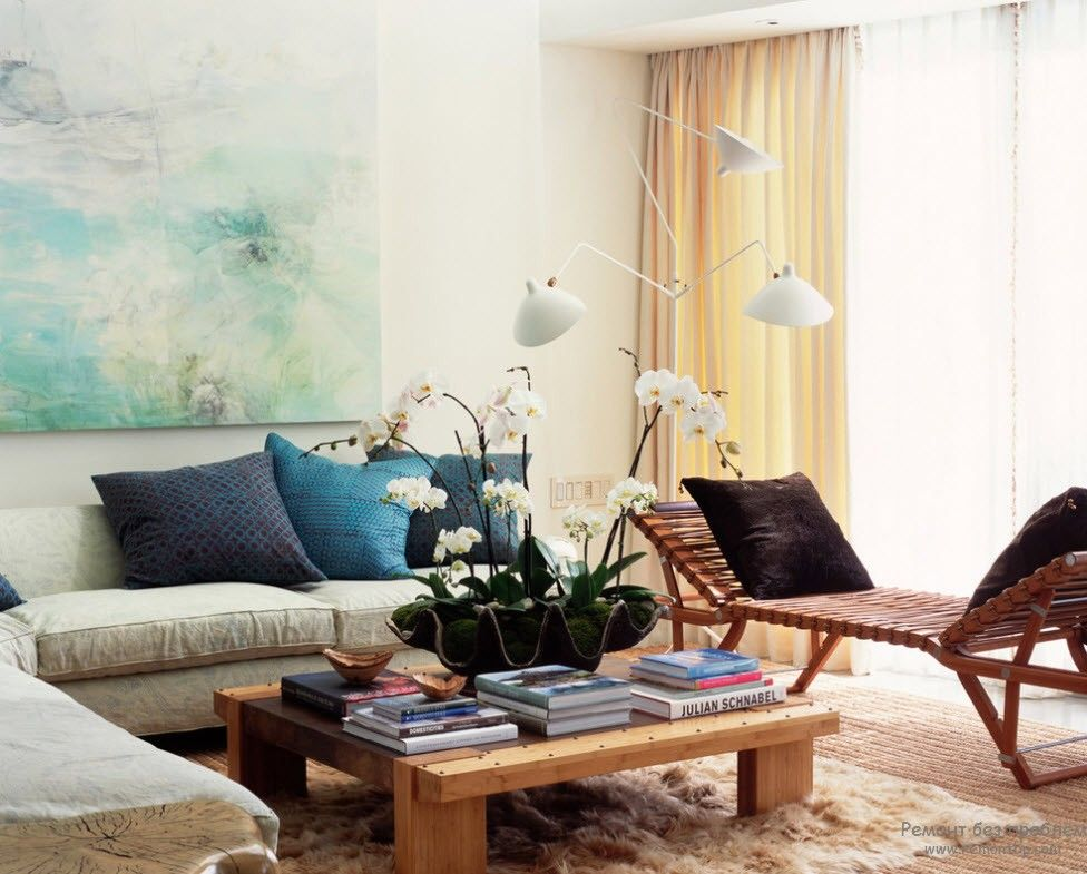 Relaxing image of the Modern styled living room with low wooden coffee table