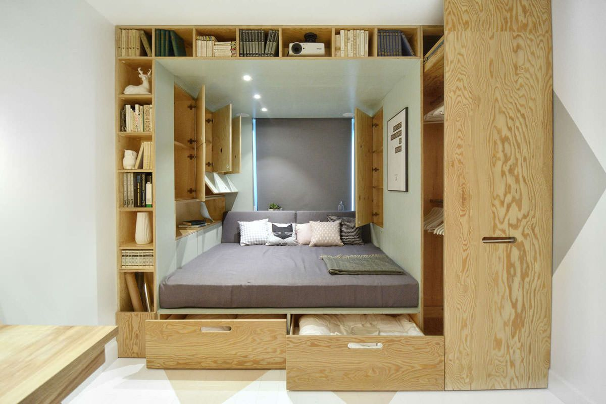 Podium Bed. Luxury or Functional Interior Element? Sleeping place in the library
