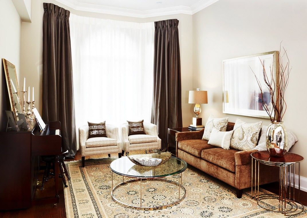 Brown Color Interior Decoration Ideas. Kitchen, Bedroom, Living Room. Dark blackout curtains and round glass table