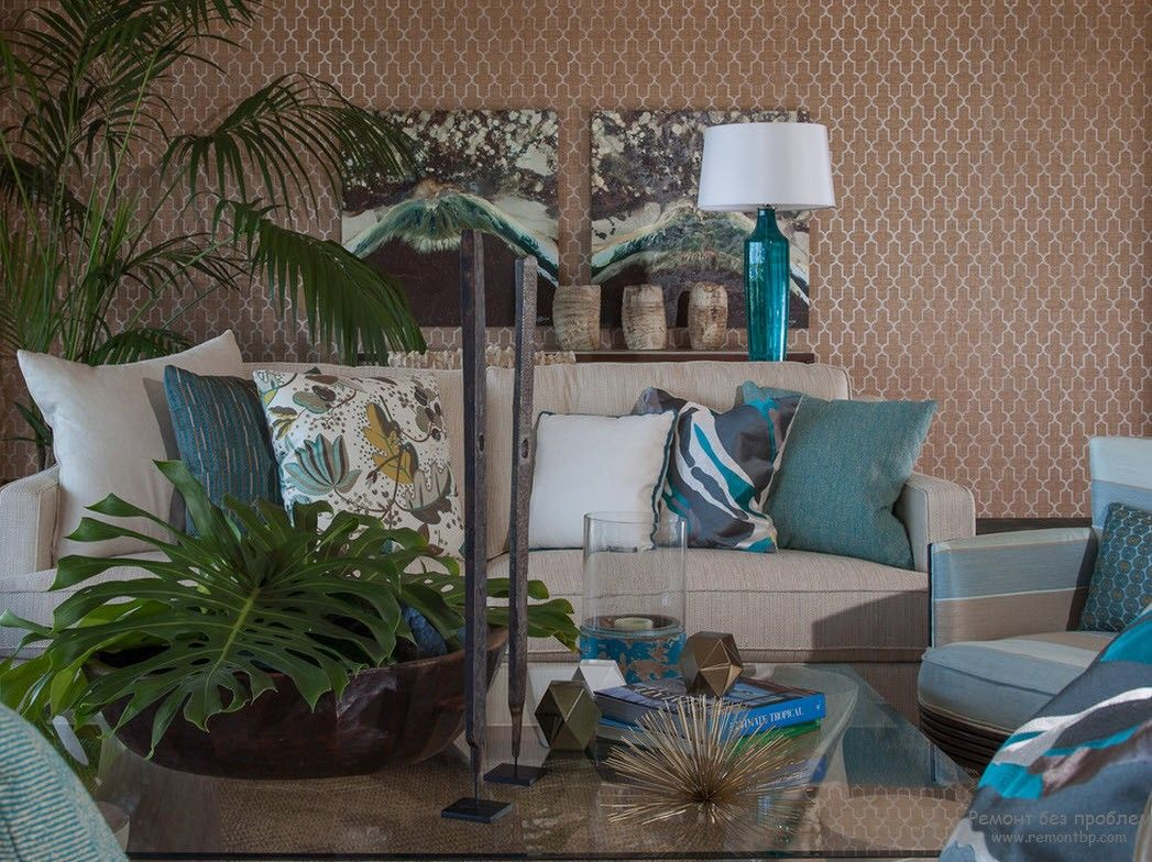 Turquoise Color Interior Decoration. Marine Theme for Your Home. Unusual jungle setting of the living