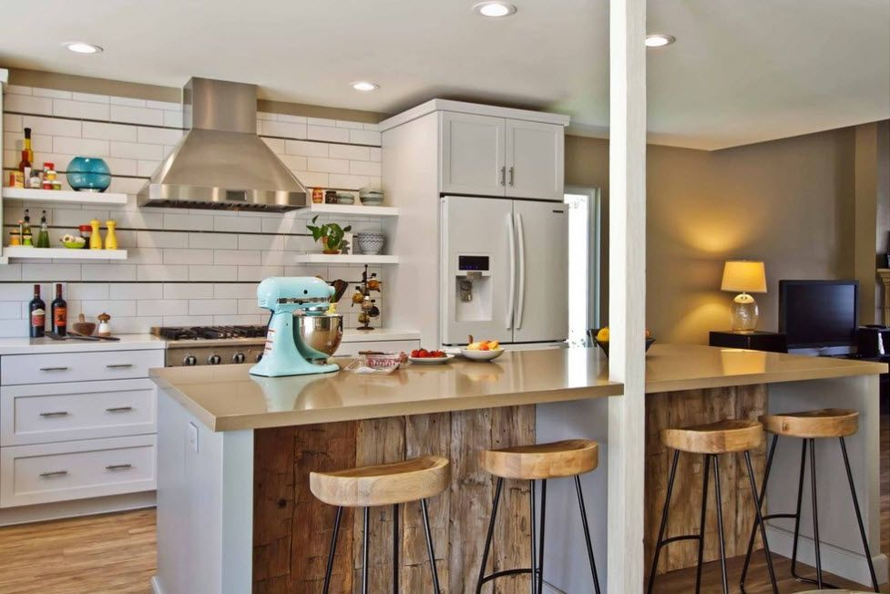 White decorated kitchen with Rustic touch and marble countertop