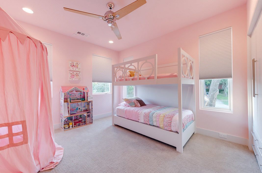 Kids room with bunk bed and powder colored walls