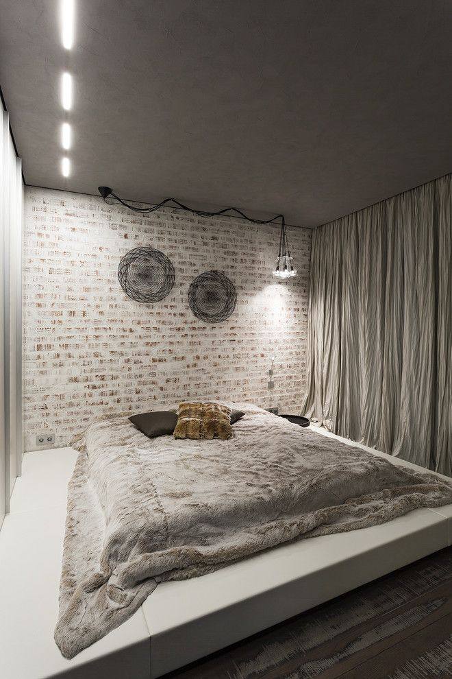 Loft urban style for the modern bedroom with silver blackout curtains