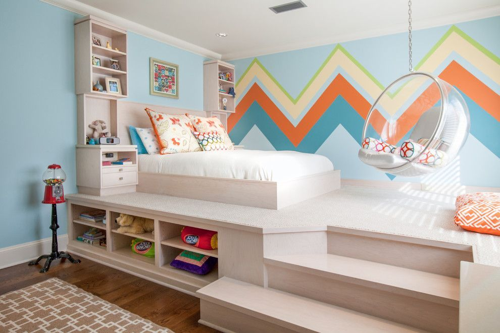 podium bed with wide steps and shelving for triffles
