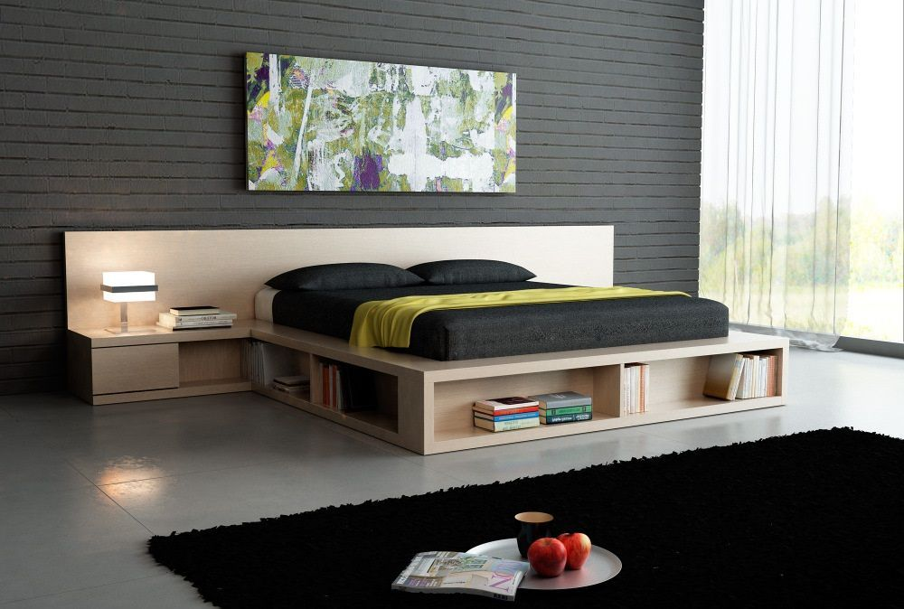 Podium Bed. Luxury or Functional Interior Element? Modern constructivism with the palette platform imitation and large picture at the headboard