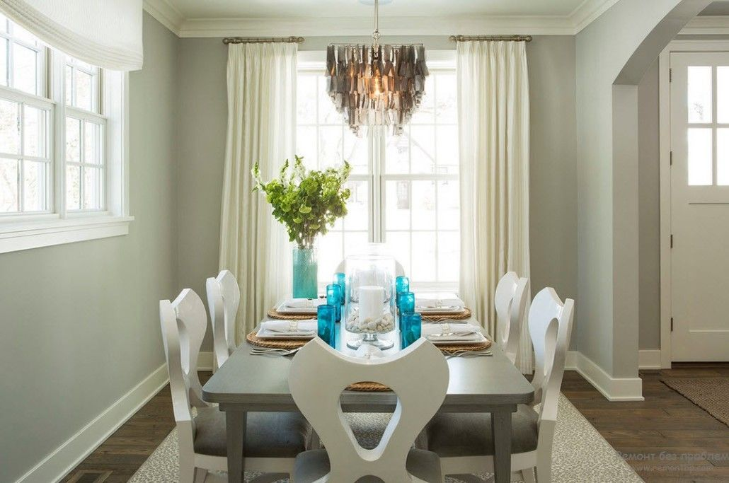 Gray Color Interior Decoration. Simple Elegance for Your Apartment. Nice relaxing dining room atmosphere