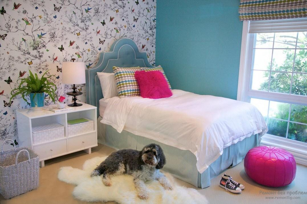 Revived turquoise girl's bedroom interior with fluffy rug