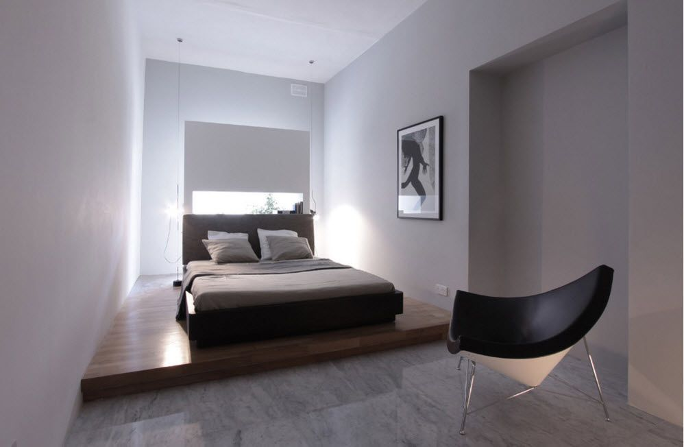 Podium Bed. Luxury or Functional Interior Element? Sleeper with the window instead of the headboard