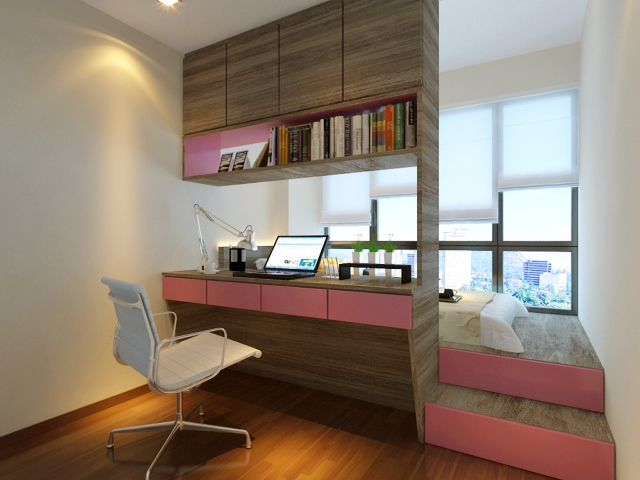Turnkey solution of the ready-made home office with cozy sleeper at the window near the working place