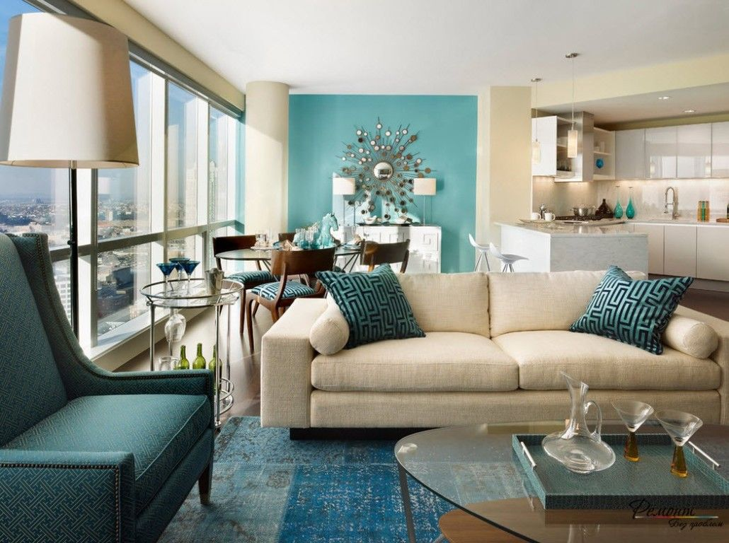 Turquoise Color Interior Decoration. Marine Theme for Your Home. Tender touch of the sea breeze in the spacious and light living room