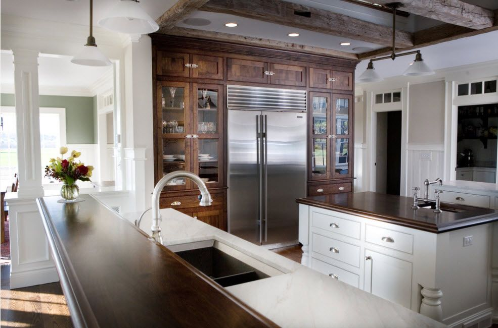 Modern kitchen design with the wooden Classic styled cabinet to emphasize the refrigerator