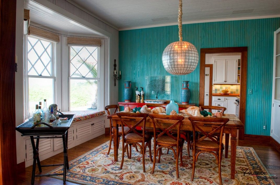 Turquoise Color Interior Decoration. Marine Theme for Your Home. Full-fledged dining room with the bay window