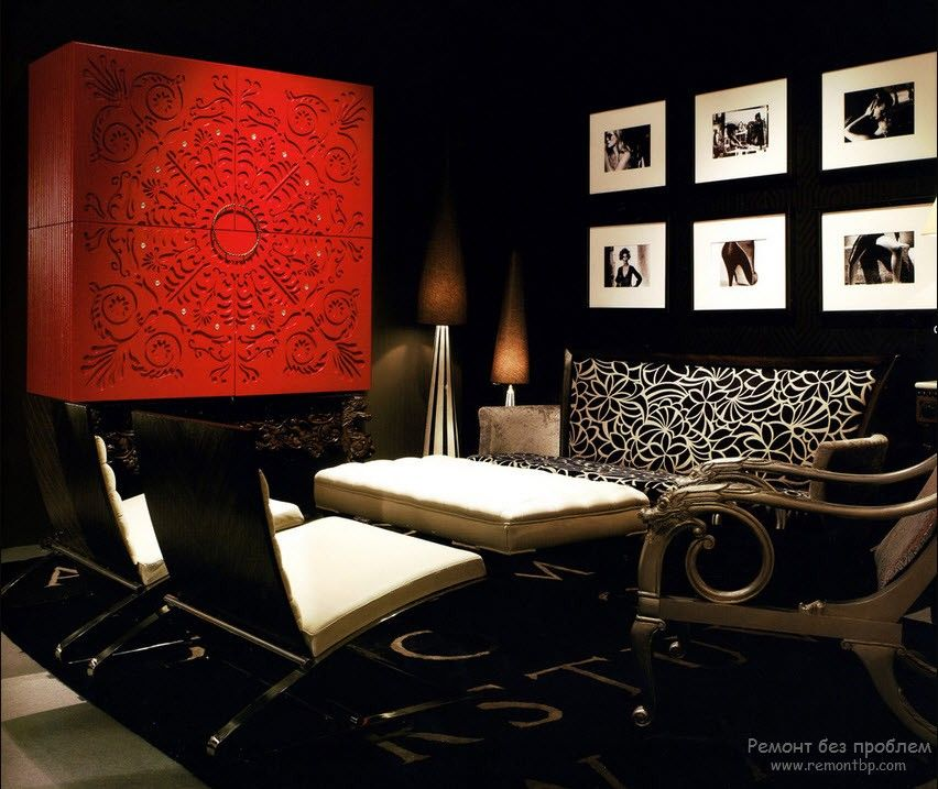 Red Color Interior Decoration. Versatility of Red Shades bright picture installation for the noir styled room