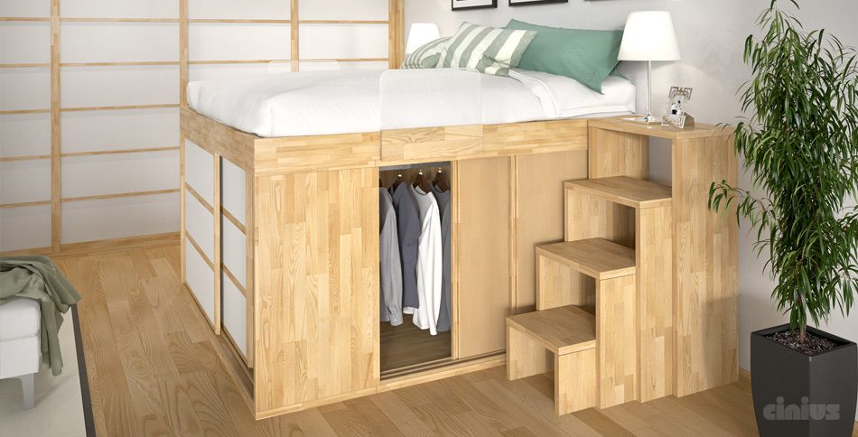 High bed podium to place wardrobe under it