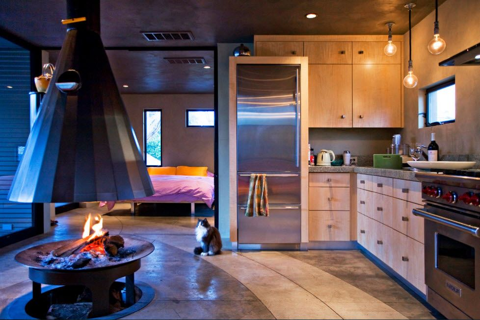 Open layout studio apartment with enlighted kitchen zone in front of the fireplace