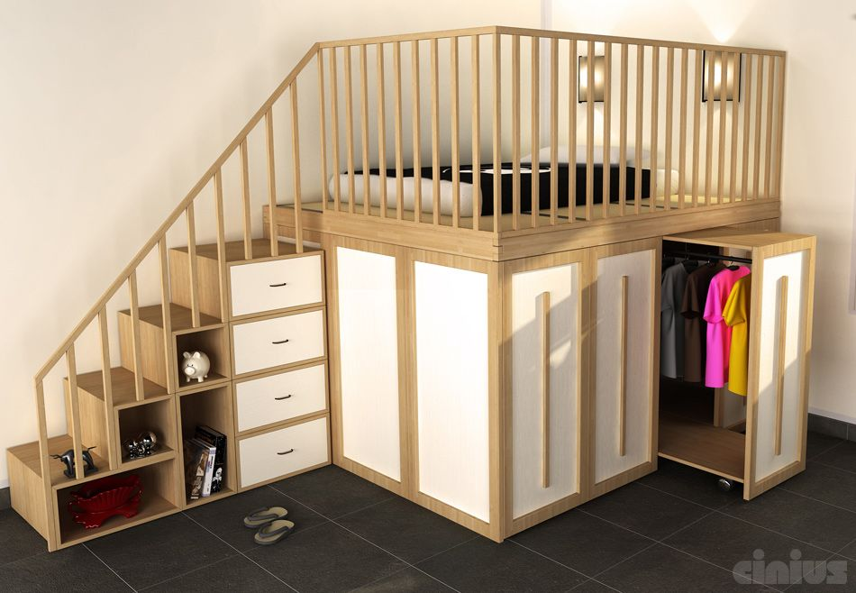 Kids' room with posium bed, storage in the staircase and the small wardrobe under the sleeper
