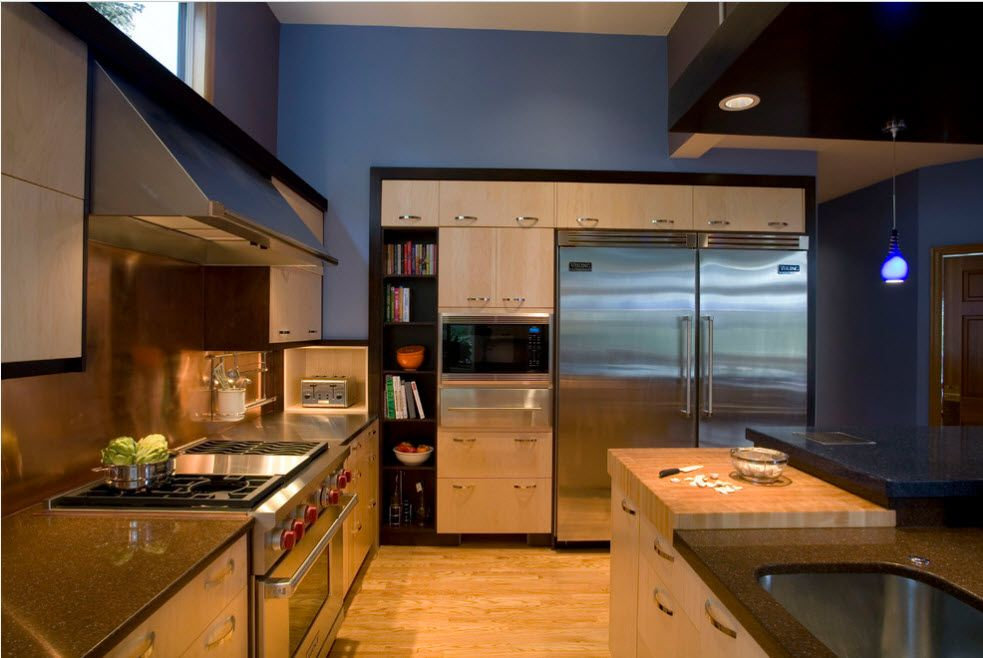 Glancing surfaces of the kitchen furniture and applainces in Modern interior