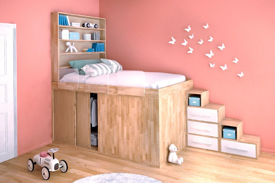 Functional zone of the room with the podium bed as the central element