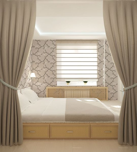 Fresh Classic interior with gray tones in decoration and wooden storage podium under the bed